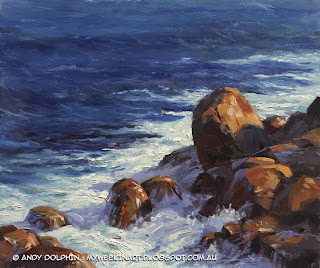 Lowlands Beach rocks, near Albany, WA. Plein air oil painting seascape by Andy Dolphin.