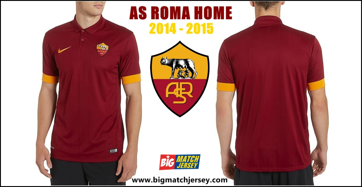 Jersey Bola Player Issue GO As Roma Home Official Musim 2014 - 2015