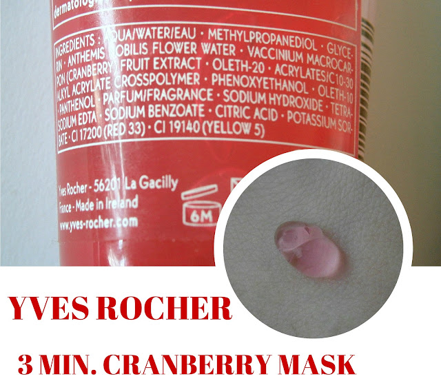 Yves Rocher 3 min.cranberry cooling effect mask