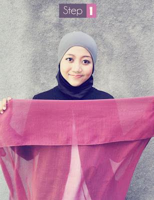Cara memakai Jilbab Paris Segi Empat (4)