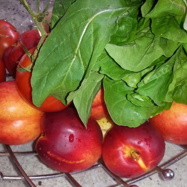 Local organic nectarines and arugula