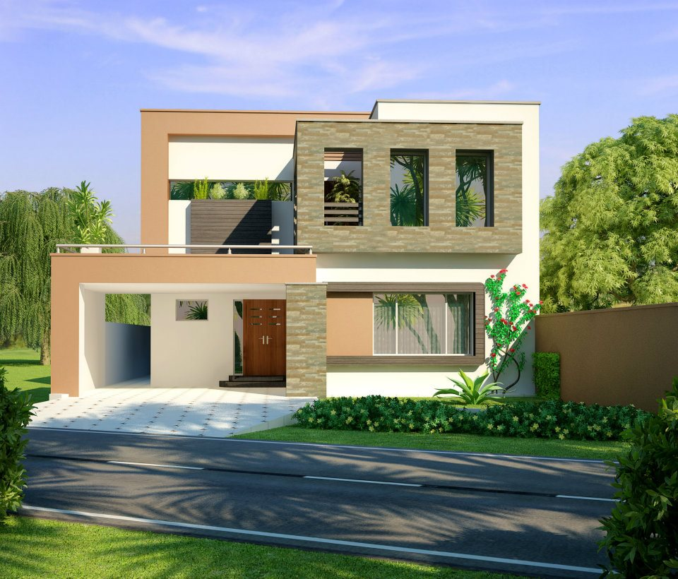 3d front 10 marla modern home design 3d for Front elevation modern house