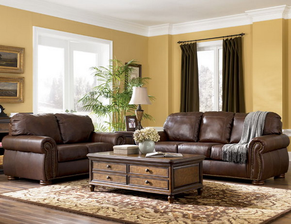 Living Room with Brown Leather Couch