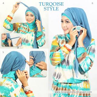 Turqoise Style Dengan menggunakan Jilbab Paris