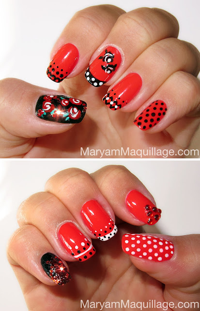 Maryam maquillage spanish rose nail art todays vibrant red nails are decorated with graphic roses retro polka dots sparkling sequins lace motifs and are inspired by a photo i took of a local prinsesfo Gallery