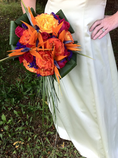 Tropical roses bridal bouquet by Stein Your Florist Co.