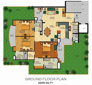 Emerald Court :: Floor Plans,Emperor - Type A:-Ground Floor3 Bedrooms, 3 Toilets, Kitchen, Dining, Drawing, 3 Balconies, Servant Room with Toilet, Private Lawn Area - 2290 Sq. Ft.