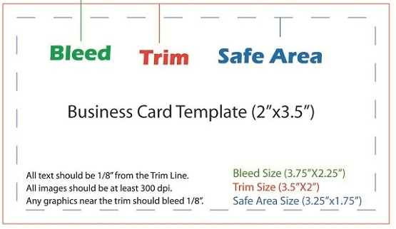 Business cards templates size