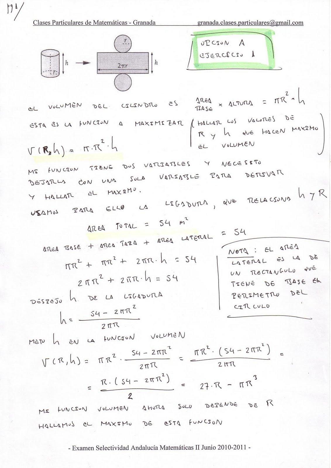 Examen resuelto corregido selectividad matematicas ii andalucia junio