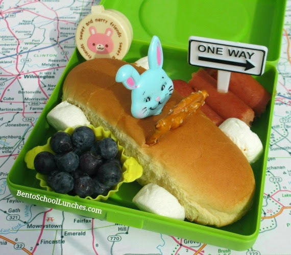 Easter bunny race car picnic bento