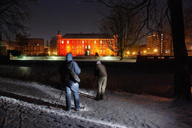 Valkenbergpark, zicht op verlicht KMA