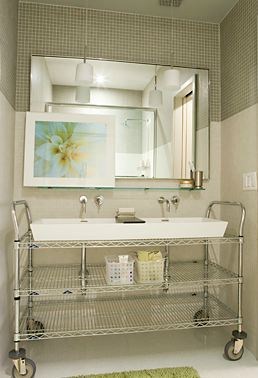 commercial metal shelving cart converted into a bathroom sink base