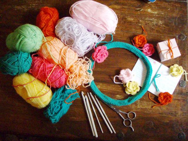 yarn and crochet flowers