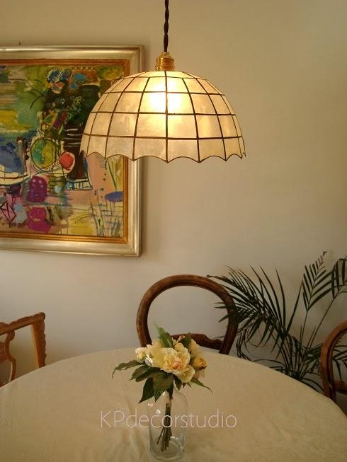 lámparas diseño clásico tipo tiffany, dorado, techo, lamas de nácar, vintage, restauradas.