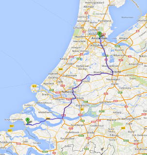 Map to Amsterdam