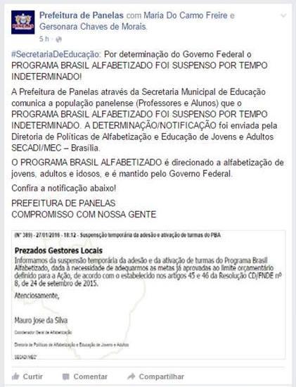 Programa Brasil Alfabetizado em Panelas-PE é suspenso