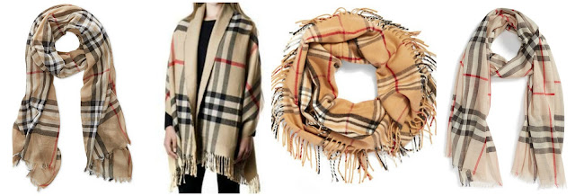 Fall is the time for scarves and that means copycat Burberry prints. One of these is the real thing for  $395 and the other three are under $50. Can you guess which one is the real Burberry? Click the links below to see if you are correct!