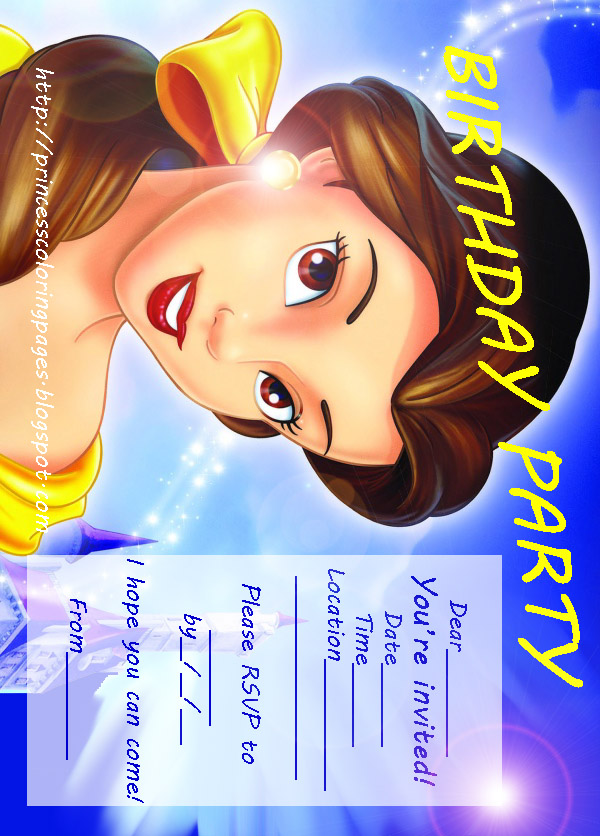 BELLE BEAUTY AND THE BEAST PARTY INVITATION PRINTABLE Coloring