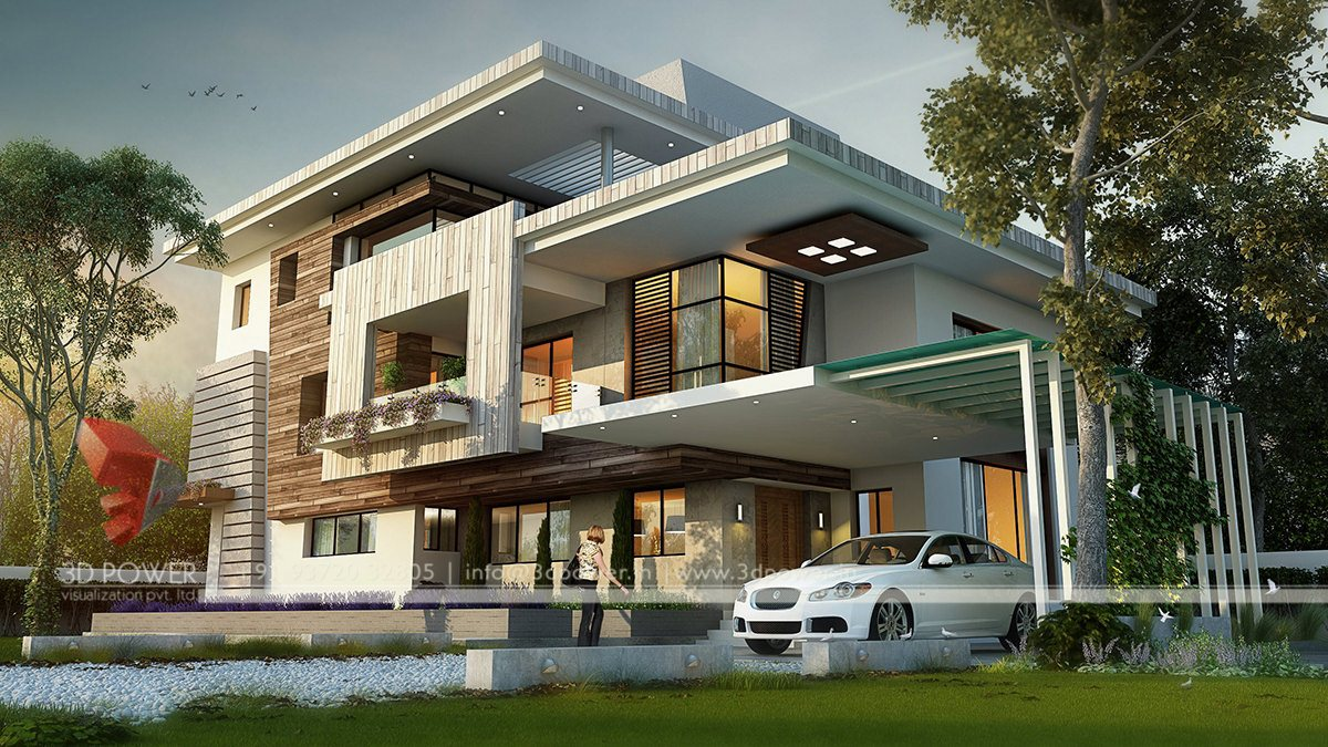 Awesome 3D Rendering Bungalow Elevation