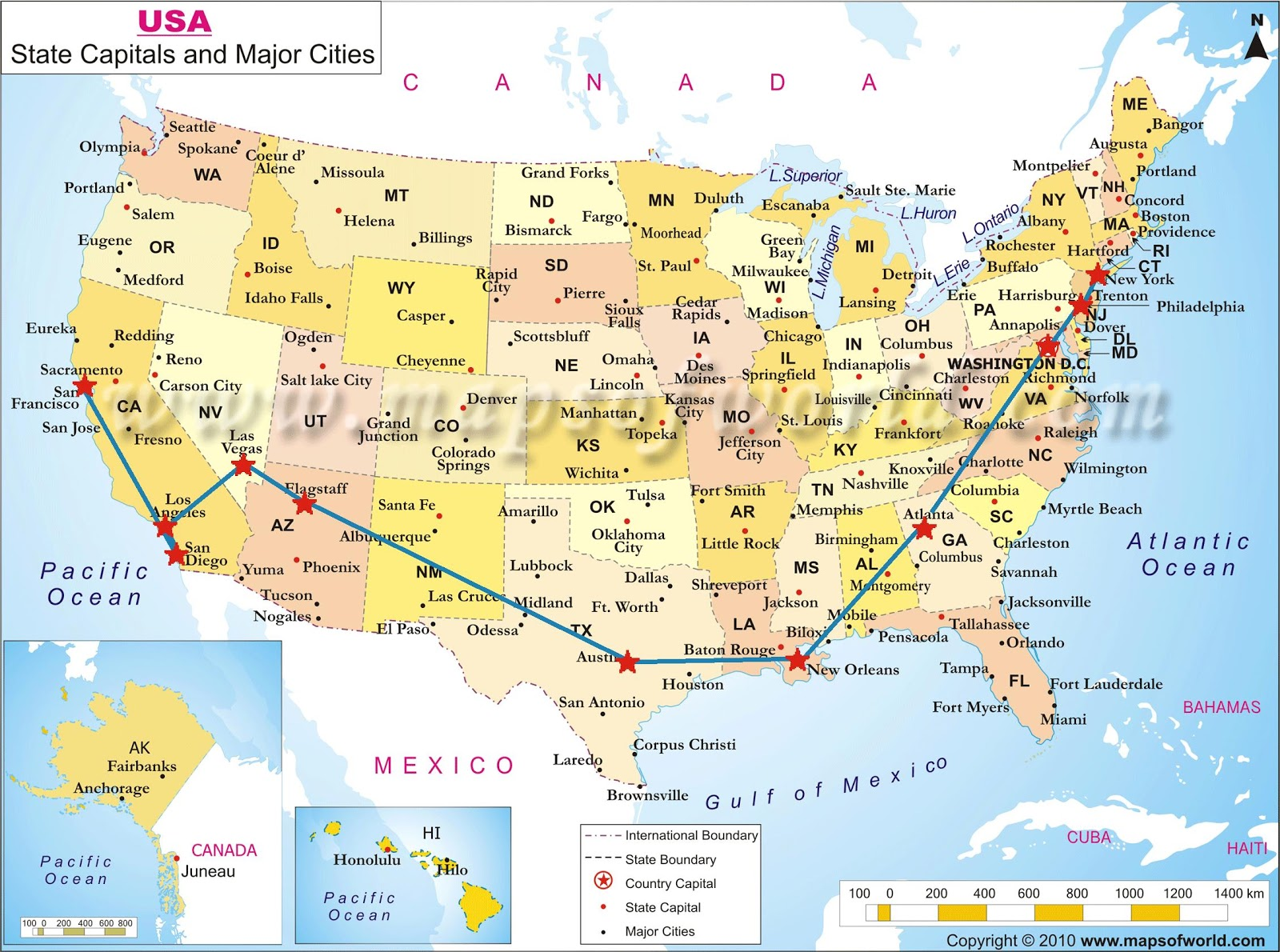 Usa Map States And Capitals Usa States And Capital An Major Map Of United States
