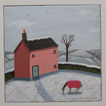 Sophie Harding - Pink Cottage and Horse in the Snow