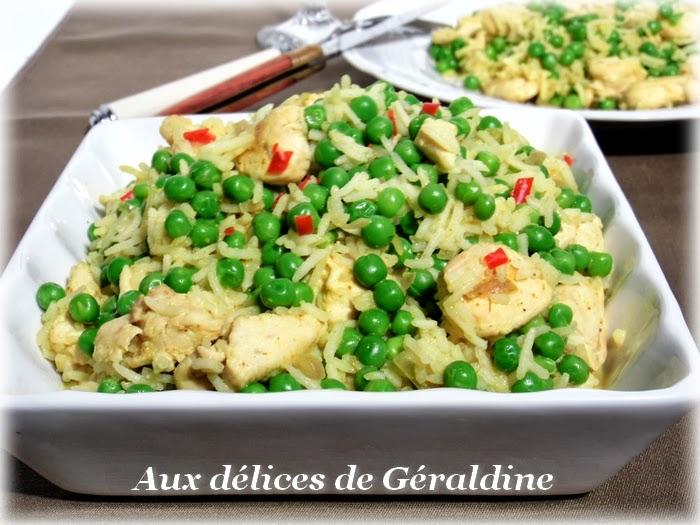 Aux d lices de g raldine curry de poulet au lait de coco - Comment cuisiner des petit pois en boite ...