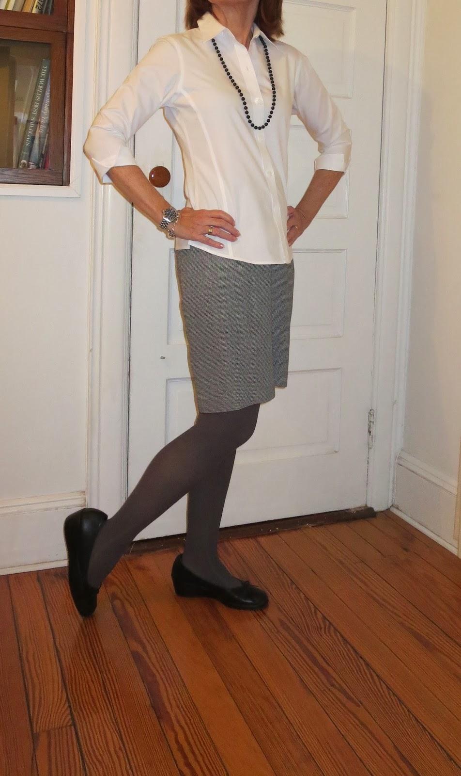 white blouse and skirt for women over 50