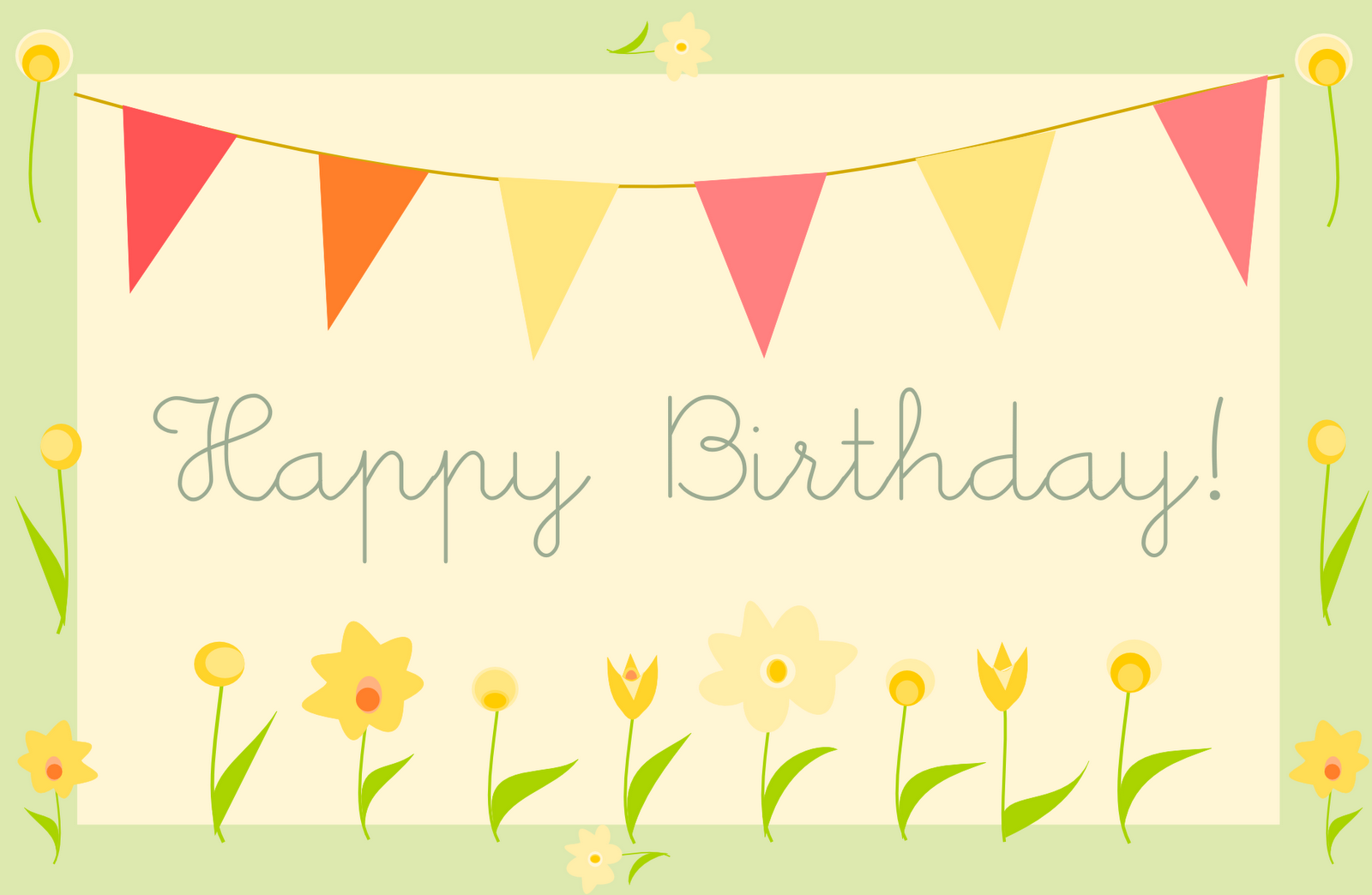 bunting and flowers happy birthday card