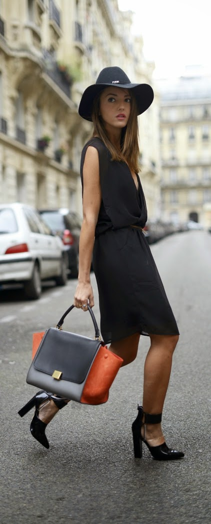 Black Sexy Side Zip Dress with Hat and Ankle Heels | Spring Outfits