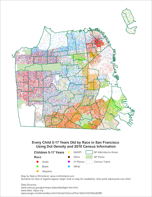 Racial dot map of children 5-17 in San Francisco