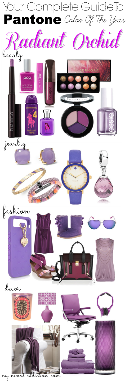 radiant orchid pantone color of the year beauty fashion jewelry home decor purple