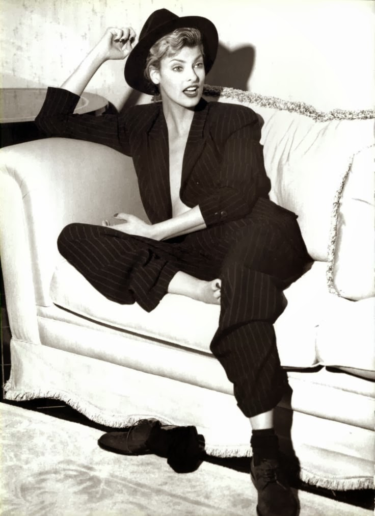 LINDA EVANGELISTA, PINSTRIPE SUIT, MENSWEAR, VINTAGE, EDITORIAL, SUITING