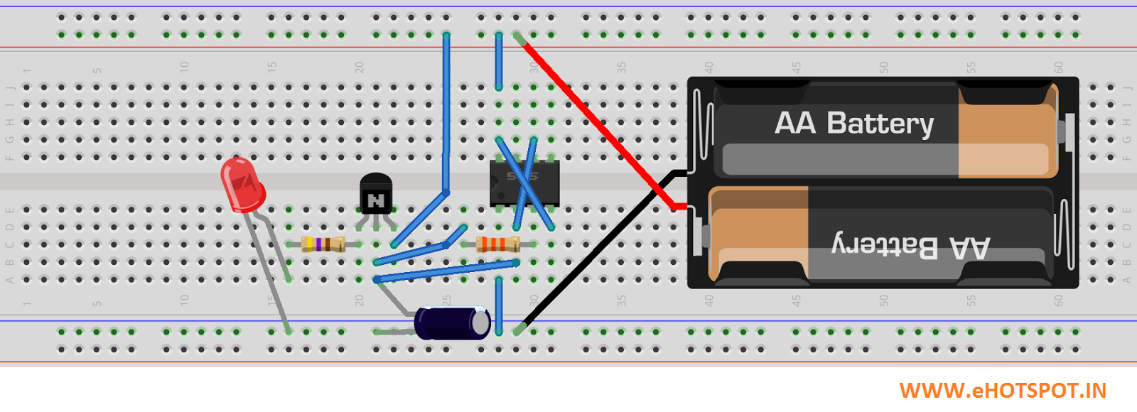Electronics Hotspot 555 Everything About This Is Easy Led Flasher Circuit It Use Ic Drive Display Note Below I Used A Combination Of Resistors Equal To 30k Fade In And Out