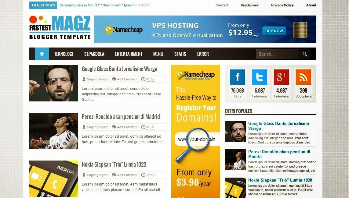 Fastest Magz V3 Premium Blogger Template Gratis