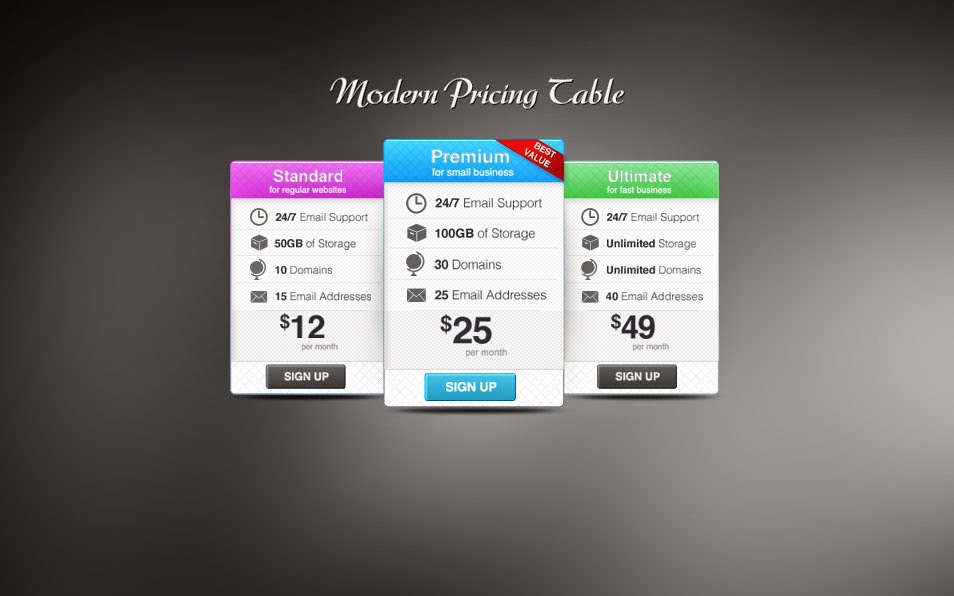Colorful Pricing Tables PSD