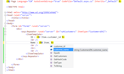 Strongly Typed Data Controls IntelliSense Display