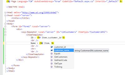 Strongly Typed Data Controls IntelliSense Display