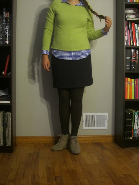 Gingham, Preppy, Classic, Thrifted Cashmere, Fall Outfit, Lime Green Sweater, Wedges