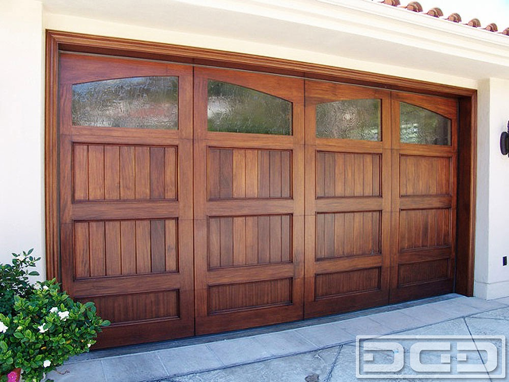 Wood Garage Door With Glass Windows