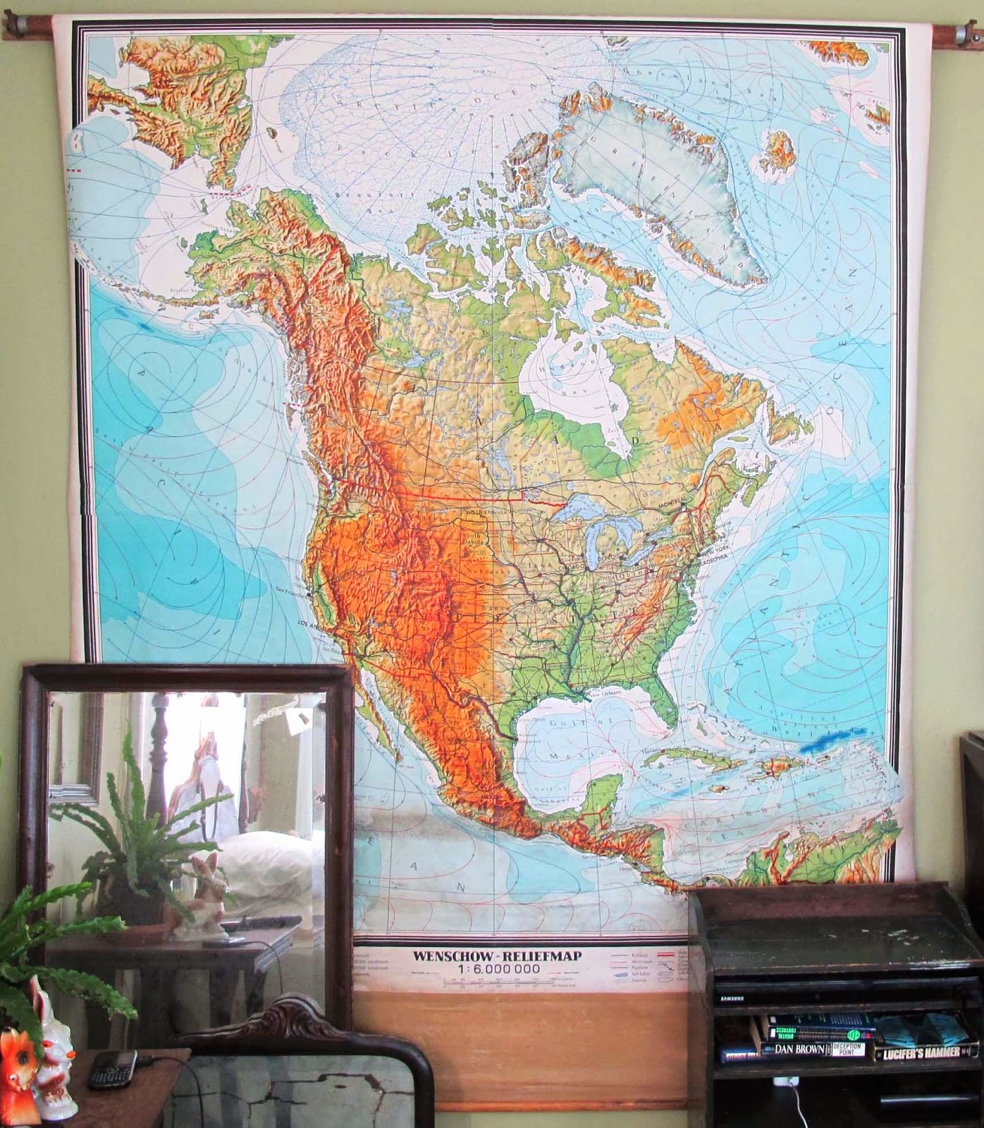 this is ben s prized find of the year a mid century school map of north america we saw it at a barn sale for 75 and ben hemmed and hawed about it and