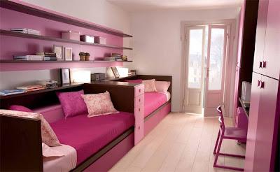 habitaciones para dos niñas rosa