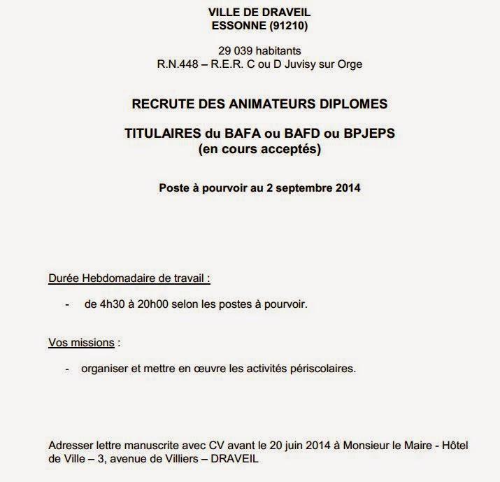 Recherche d'emploi : offres en Draveil  Tableauemploi