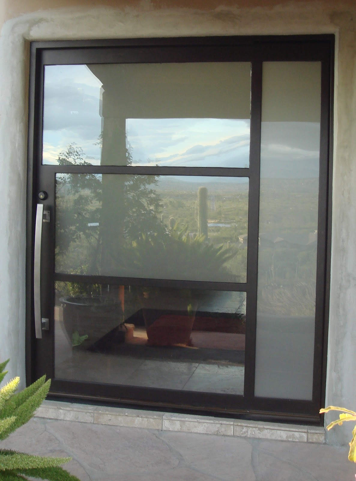 1600 #5D4936 Portella Architect Series Steel Pivot Door With 2 Equal Sidelites  save image Custom Made Steel Doors 46671186