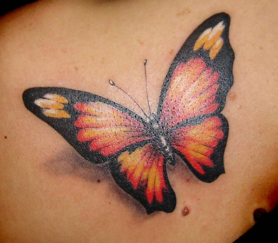 Beautiful 3D Butterfly Tattoo Design Inspiration