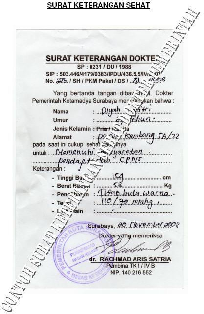 Contoh Surat Keterangan Sehat CPNS 2013 Pemkot Surabaya