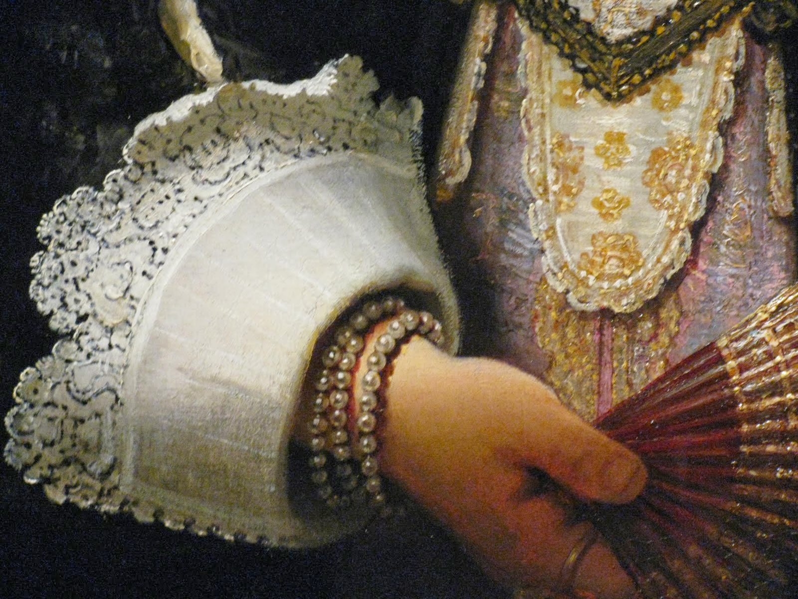 Portrait detail of Agatha Bas (1641) by Rembrandt