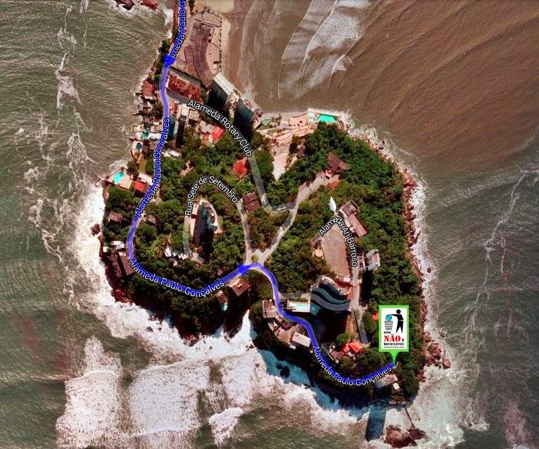 Imagem de satélite da ilha Porchat indicando o ponto de encontro da ação. Fonte: Google Maps