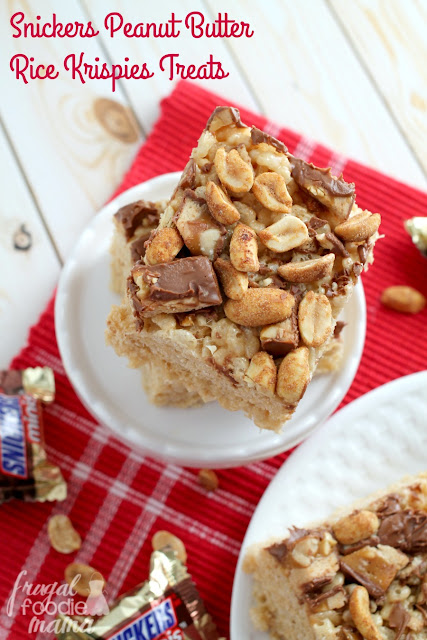 A classic no-bake treats gets jazzed up with the addition of creamy peanut butter, Snickers, & honey roasted peanuts in these Snickers Peanut Butter Rice Krispies Treats.