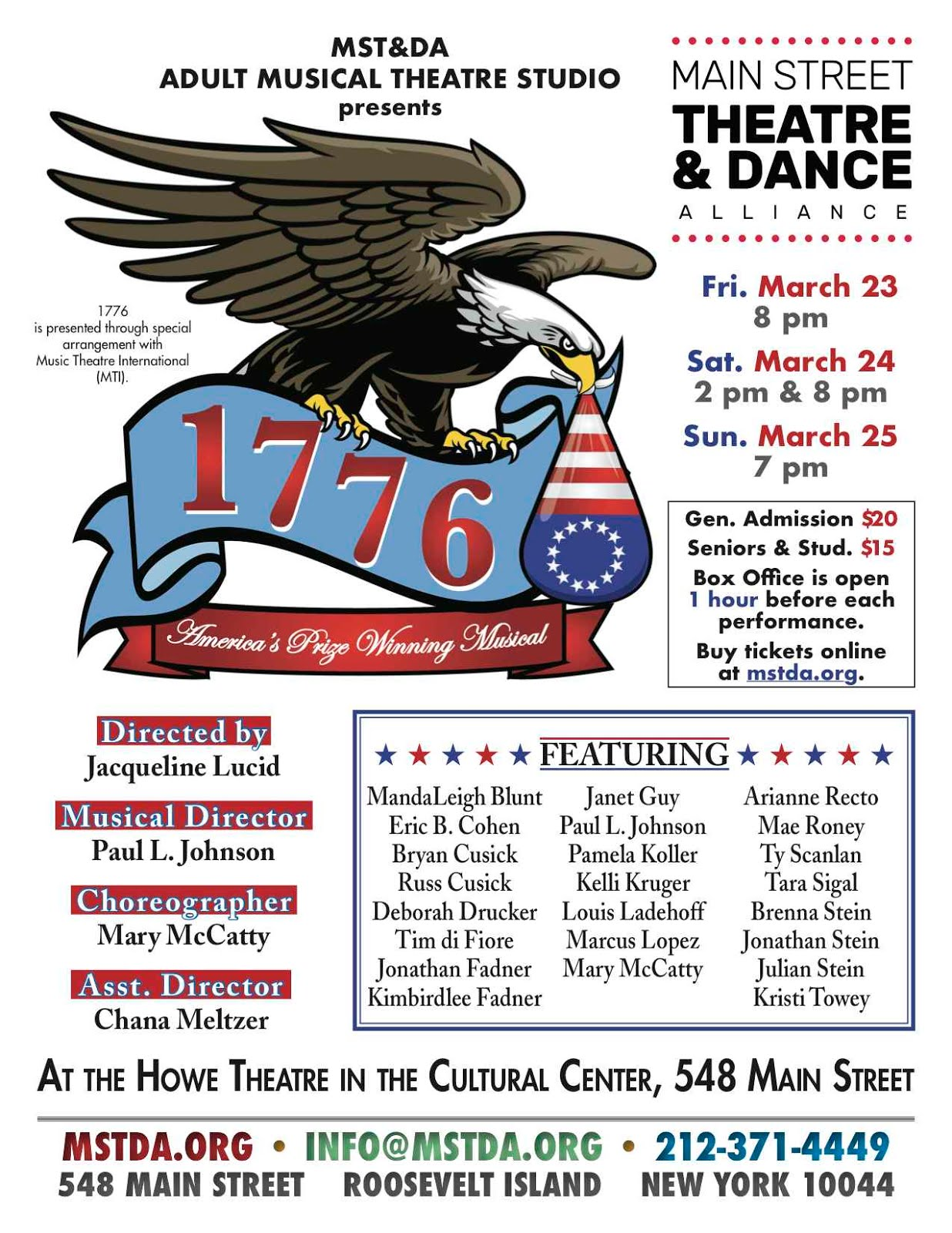 MST&DA Present 1776 Muscial This Weekend
