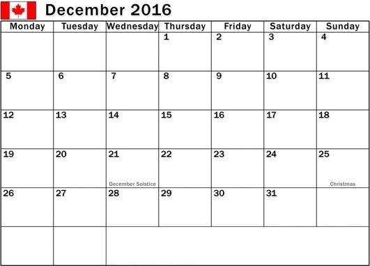 December 2016 Calendar with Canadian Holidays Free, December 2016 ...
